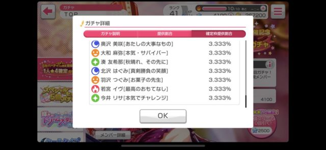 バンドリ『ガルパーティ!in東京開催記念1人★4確定ガチャ』の確率は?
