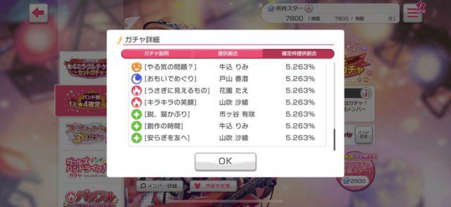 バンドリ バンド別1人★4確定ガチャ 確率